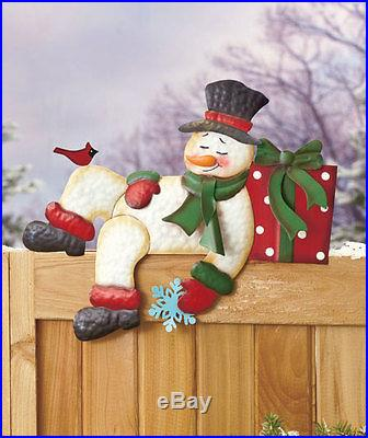 SLEEPING SNOWMAN Holiday Fence Topper Winter Christmas Outdoor Home Decor New
