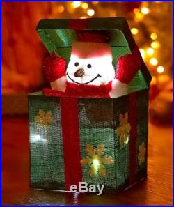 SNOWMAN LIGHTED HOLIDAY SURPRISE GIFT BOX ENTRYWAY CHRISTMAS TREE HOME DECOR