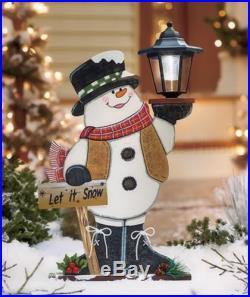 SNOWMAN SOLAR LIGHT LANTERN YARD LAWN GARDEN PORCH OUTDOOR HOME CHRISTMAS DECOR