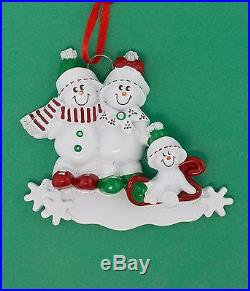 SNOWMEN SLED FAMILY OF 3 PERSONALIZED CHRISTMAS TREE ORNAMENT HOLIDAY GIFT 2015