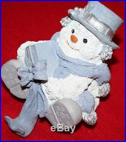 SNOW BABIES Christmas Stocking Holder RESIN SNOWMAN HOOK HOLIDAY DECOR WHITE BL