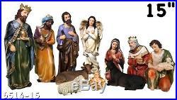 STATUE El Nacimiento / Nativity Set SCULPTURE Complete 15 Inch Brand New