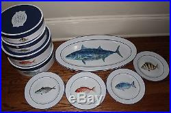 S/17 NIB Williams Sonoma 8 each La Mer dinner & salad plates + oval platter fish