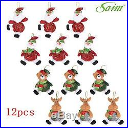 Saim Cute Christmas Santa Snowman Deer Decorations Christmas Tree Ornaments 12pc