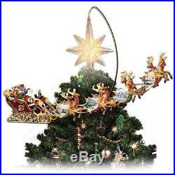 Santa Christmas Tree Topper Lighted Animated Rotating Reindeer Holiday Decor New