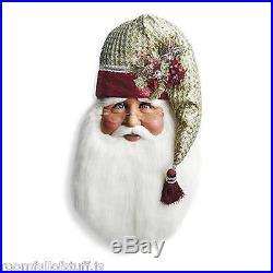 Santa Claus Head Face Poinsettia Door Wall Hanging Christmas Decor Kris Kringle