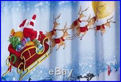 Santa Claus Reindeer Bathroom Shower Curtain Christmas Winter Holiday Bath Decor