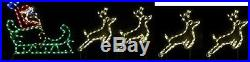 Santa Claus Sleigh w 4 Reindeer Outdoor LED Lighted Decoration Steel Wireframe