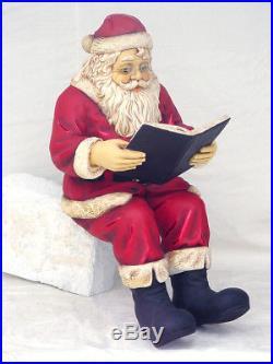 Santa Claus Statue Santa Claus Sitting with Book Statue Christmas Decor 4FT