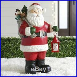 Santa Claus Statue With Lighted Lantern Sculpture Outdoor Christmas Decor Yard