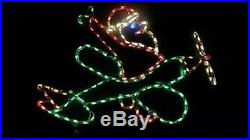 Santa Claus in Airplane Outdoor Holiday LED Lighted Decoration Steel Wireframe
