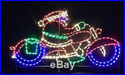 Santa Claus on Motorcycle Outdoor Holiday LED Lighted Decoration Steel Wireframe