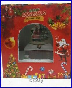 Santa Musical Wind Up Snow Globe Traditional Christmas Decoration #NG