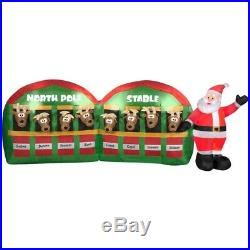 Santa Reindeer Stable 4 x 11′ Lighted Airblown Inflatable New