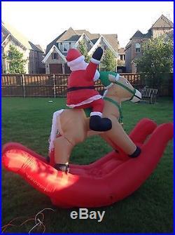 Santa Rockin Horse Animated Large Inflatable Holiday