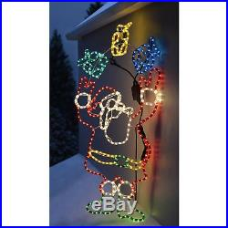 Santa Rope Lights Silhouette Christmas Decoration Large Multi-Colour Outdoor