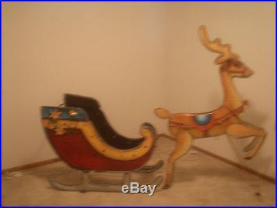 Santa Sleigh With Reindeer Lighted 8 Ft Painted Metal