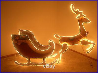 Santa Sleigh with Reindeer LIGHTED 8 FT. PAINTED METAL CHRISTMAS DISPLAY-REDUCED
