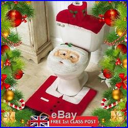Santa Toilet Seat Cover Rug Bathroom Set 3 Pcs Christmas Decorations Happy Xmas