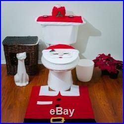 Santa Toilet Seat Cover Rug Bathroom Set Holiday Home Decor Xmas Decoration Mat