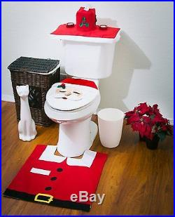 Santa Toilet Seat Tank Cover Bathroom Rug Set Christmas Decoration 4 Pcs Xmas