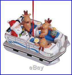 Santa and Reindeer in Pontoon Party Boat Christmas Holiday Ornament Cape Shore
