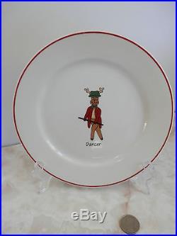 Santa's REINDEER Plates Dishes LTD Commodities Set Of 8 Christmas Holiday Decor