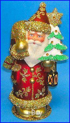Schaller Paper Mache Red Santa with Gold Glitter