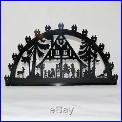 Schwibbogen Lichterbogen Metall Waldhaus Weihnachten XL Außen schwarz groß