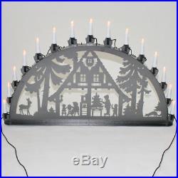 Schwibbogen Lichterbogen Metall Waldhaus Weihnachten XL Außen silber-antik groß