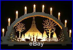 Schwibbogen Seiffener Kirche mit Kurrende 70cm mit LED Vorbeleuchtung Erzgebirge