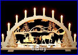 Schwibbogen Weihnachtsmann mit Pferd 70cm groß + LED Vorbeleuchtung Erzgebirge
