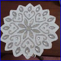 Set Of 6 Sparkly White Snowflake Glass Beads Crystals
