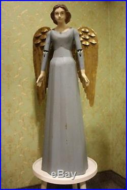 Sehr großer Engel Vintage Shabby Handarbeit Meander Weihnachten 101cm blau NEU
