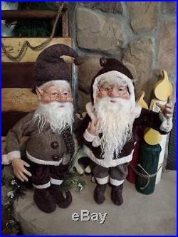 Set 2 NWT 20 Santa's Elves ELF Christmas Display Prop Figure Doll Brown Clothes