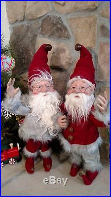 Set 2 NWT 20 Santas Elves ELF Christmas Display Prop Figure Doll Red Gray Suits
