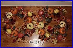 Set/2 New 2015 Pottery Barn Harvest Pumpkin 24 wreaths Thanksgiving fall