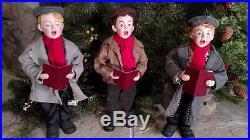 Set 3 NIB Large 16 THREE BOYS CAROLING Christmas Table top Figure Display Prop