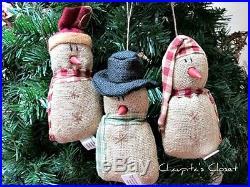 Set 3 Primitive Country BURLAP SNOWMAN Ornaments Christmas Winter Home Decor