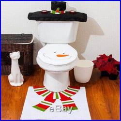 Set 3pcs Christmas Decoration Santa Snowman Toilet Seat Cover & Rug Bathroom