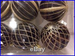 Set 6 Christmas Holiday Shatterproof Ornaments Glitter Black and Gold Balls