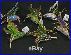 Set 6 Six Colors Cloisonne Hummingbird Christmas Ornaments Red Green Blue Pink