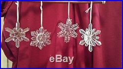 Set / Lot of 4 Large Glass Snowflake Ornaments great for Christmas or anytime