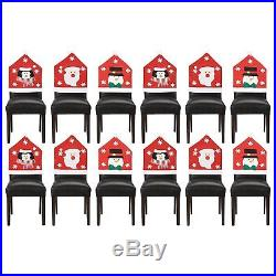 Set Of 12 Pcs Christmas Chair Hat Back Cover Dinner Dining