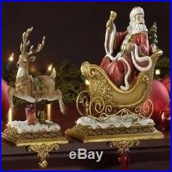 Set Of 2 Josephs Studio Santa Claus Reindeer Christmas Stocking Holders New