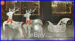 Set Of 2 Lighted Deer Reindeer with Sleigh Christmas Decor Outdoor Indoor NEW