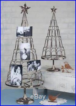 Set Of 2 Shabby Chic Large Christmas Card Photo Holder Antiqued Grey Finish