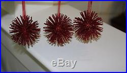 Set Of 3 Pottery Barn Red Glitter Snowflake Christmas Tree Ornaments Lot