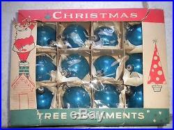 Set of 12 Christmas Tree Holiday Ornaments Glass Balls Blue (Poland)