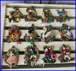 Set of 12 Resin 12 Days of Christmas Tree Decorations Gisela Graham Traditional